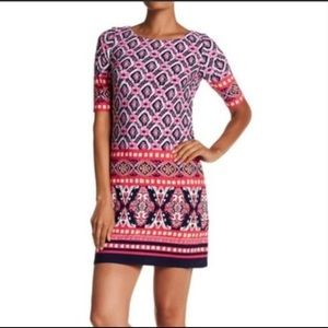 Eliza J Pink Blue Print Shift Mini Dress Size 4